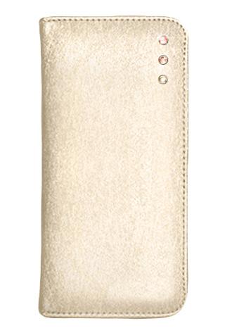「iPhone 6」対応 ポイントデコレーションブックタイプケース ゴールド