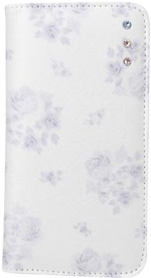 iPhone 6s用 ミラー付きポイントデコレーションブックタイプケース / ホワイト