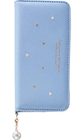 Galaxy S8用 パールチャーム付きブックタイプケース ライトブルー