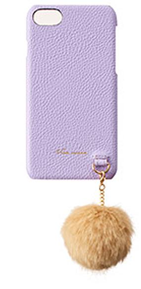 iPhone7用 ファーストラップ付き本革カバー / purple