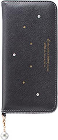 Galaxy S8+用 パールチャーム付きブックタイプケース ブラック