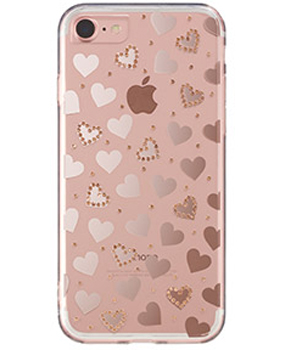 iPhone7用 メタルデコレーションハイブリッドカバー / pink gold heart