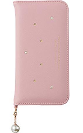 iPhone 8用 パールチャーム付きブックタイプケース ピンク