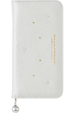AQUOS R SHV39用 パールチャーム付きブックタイプケース ホワイト