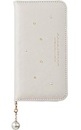 iPhone 8用 パールチャーム付きブックタイプケース ホワイト