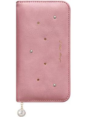 HUAWEI nova 2用 パールチャーム付きブックタイプケース ピンク