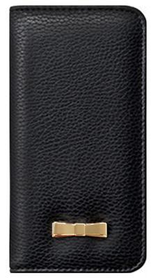 iPhone 6s用メタルリボン付きブックタイプケース / ブラック