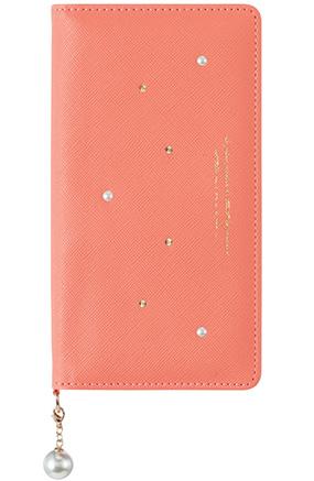 Qua phone QX用 パールチャーム付きブックタイプケース ピンク