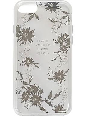 iPhone 8用 メタルデコレーションハイブリットカバー silver flower