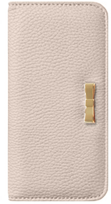 iPhone 6s用メタルリボン付きブックタイプケース / ベージュ