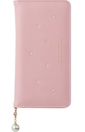 iPhone 8 Plus用 パールチャーム付きブックタイプケース ピンク