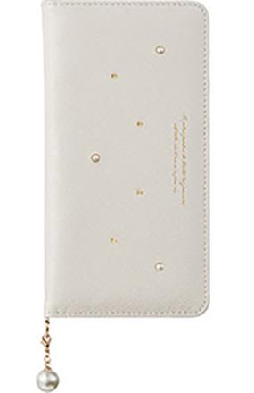 iPhone 8 Plus用 パールチャーム付きブックタイプケース ホワイト