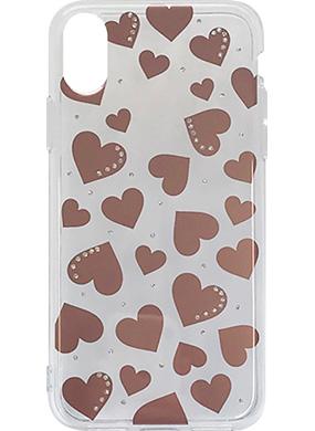 iPhone X用 メタルデコレーションハイブリットカバー pink gold heart