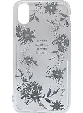 iPhone X用 メタルデコレーションハイブリットカバー silver flower
