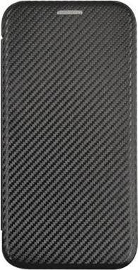 iPhone13用・iPhone13 Pro用 VOYAGE カーボン調耐衝撃ブックタイプケース / ブラック